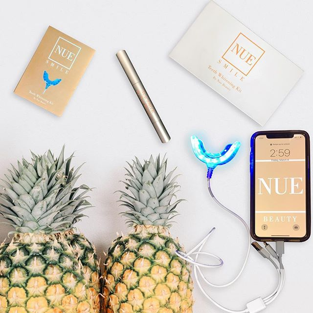 Be like a pineapple 🍍 stand tall, wear a crown and be as sweet as your Nue Smile.  Our at home teeth whitening kit will give you a noticeably brighter smile!  Link in bio!  #teethwhitening #smile #beauty #whiteteeth #spa #nue #beautiful