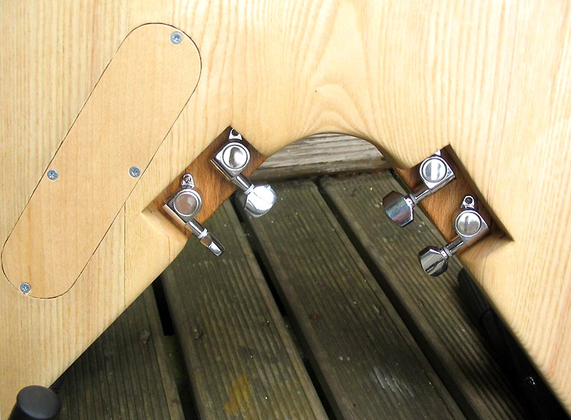 Mounting position of the four tuners on the body and the laminated maple veneer cover for the control cavity.