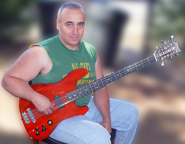 Tony Senatore and his custom Andromeda 12-String Bass built by Rothstein Guitars