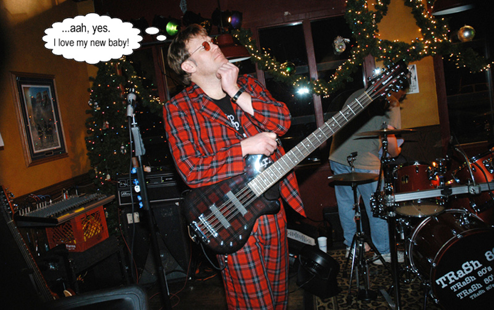 Ron's customized-finished plaid Waterstone Ozone 12-string bass.