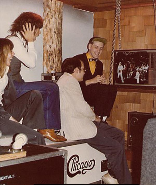 Cheap Trick watching their Budokan video during a recording break.