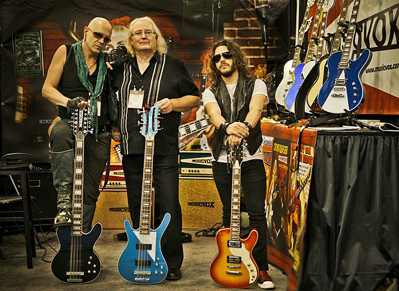 Momo Laredo, Surf and Ricky Laurent at the Musicvox booth at the 2015 LA NAMM show. Crila Laforest photo.