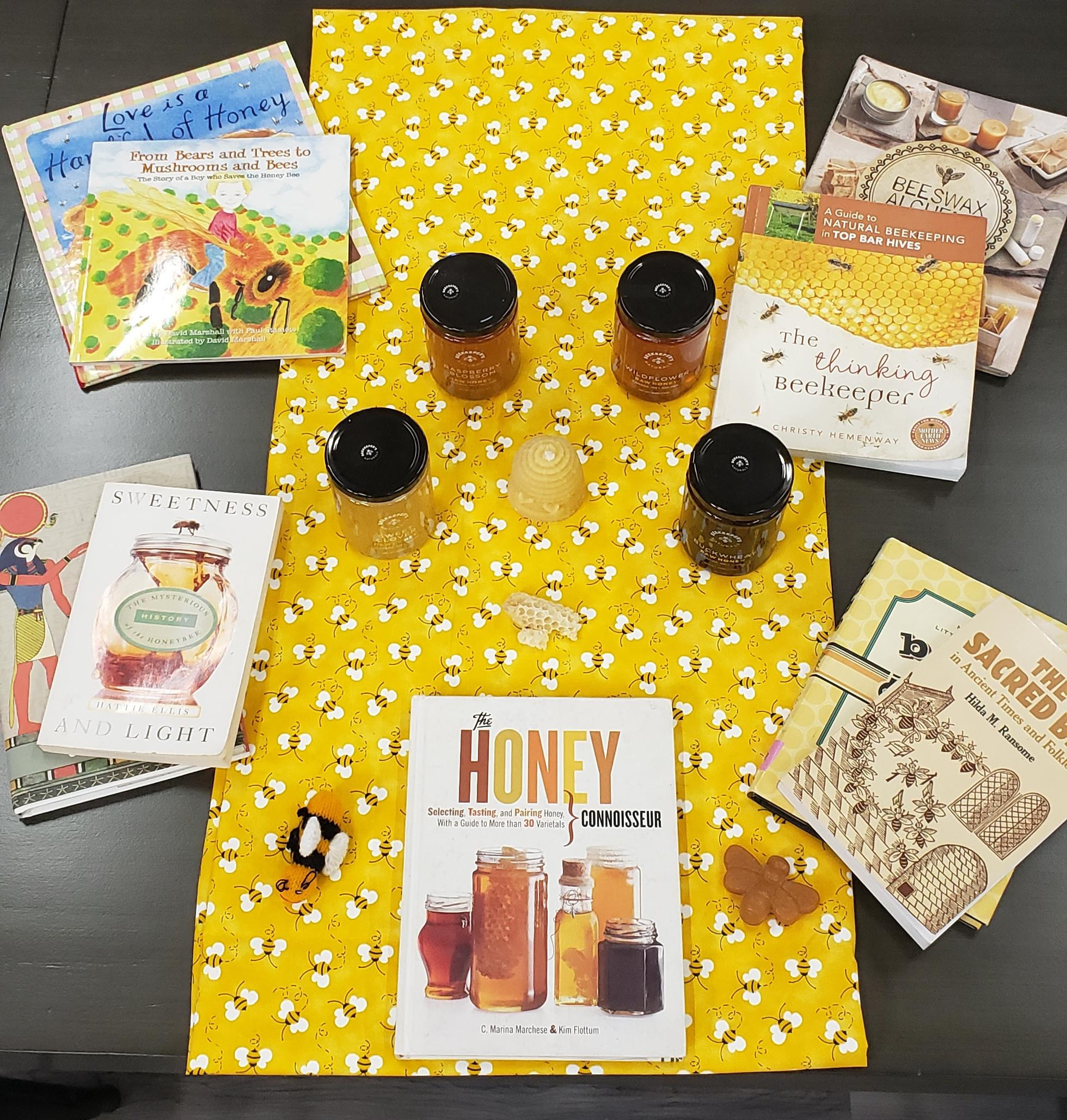 My honey tasting display, with some of my favorite honeybee books