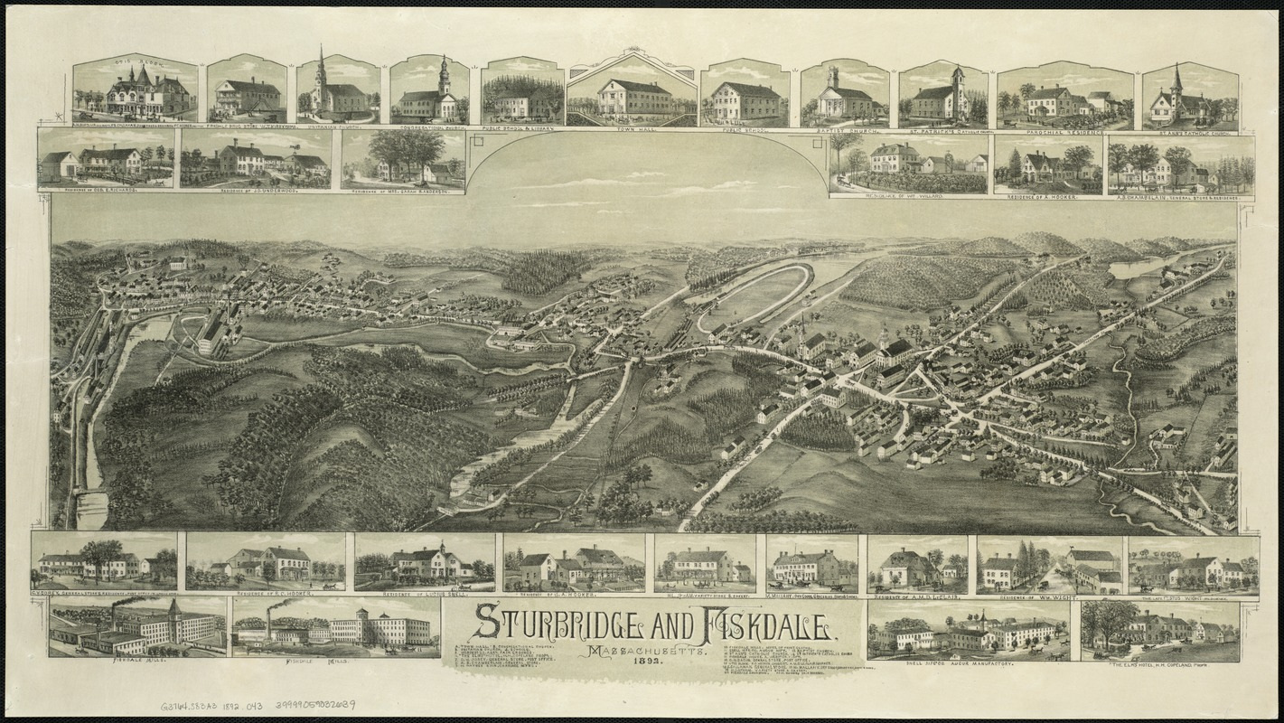 1892 O.H. Bailey & Co. Map of Sturbridge and Fiskdale, Boston Public Library