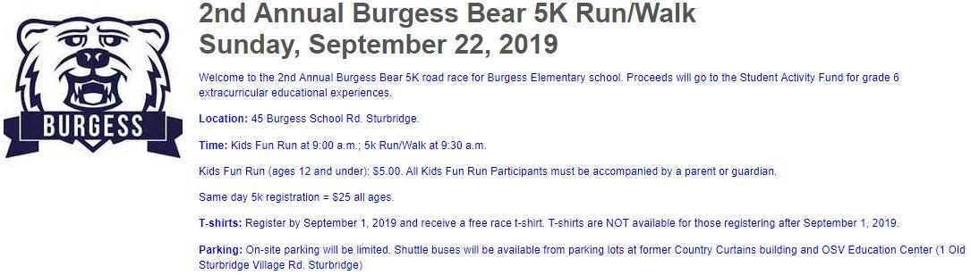 Visit:  http://www.lightboxreg.com/burgess-bear-5k-run-walk_2019?mobile=0   https://www.facebook.com/events/burgess-elementary/2nd-annual-burgess-bear-5k-run-walk/359884901331615/