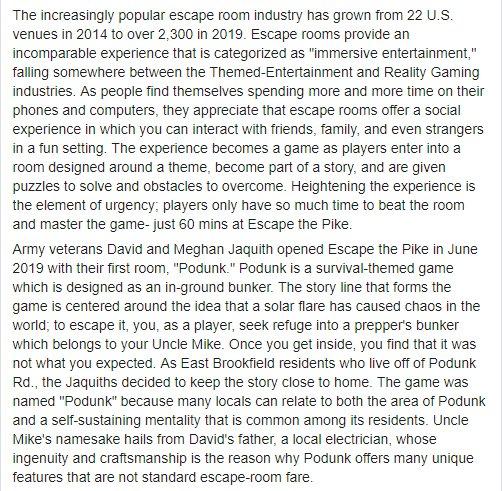 Escape the Pike- Sturbridge Times Press Release Aug 6 2019