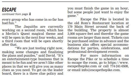 Escape the Pike- Stonebridge Press Aug. 9, 2019