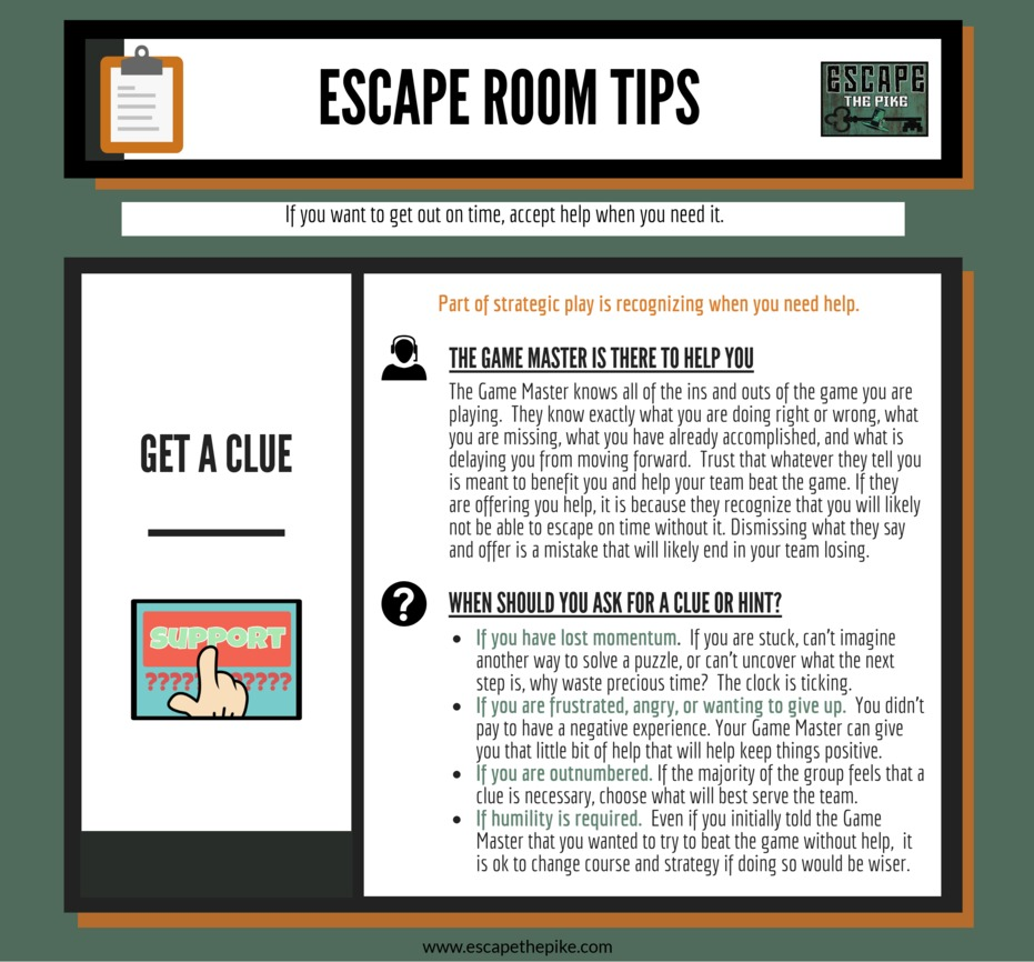 Tip #4- If the challenges that escape rooms present were easy, the games wouldn't be very much fun. While players appreciate the satisfaction of solving hard puzzles, the failure to be able to do so often is simply a matter of needing to change one's perspective, a failure to properly identify or find something, a misunderstanding of how to carry out a task, or a communication failure between teammates. Game Masters offer you the benefit of being able to recognize these things for you and provide the assistance and correction that will help your team.