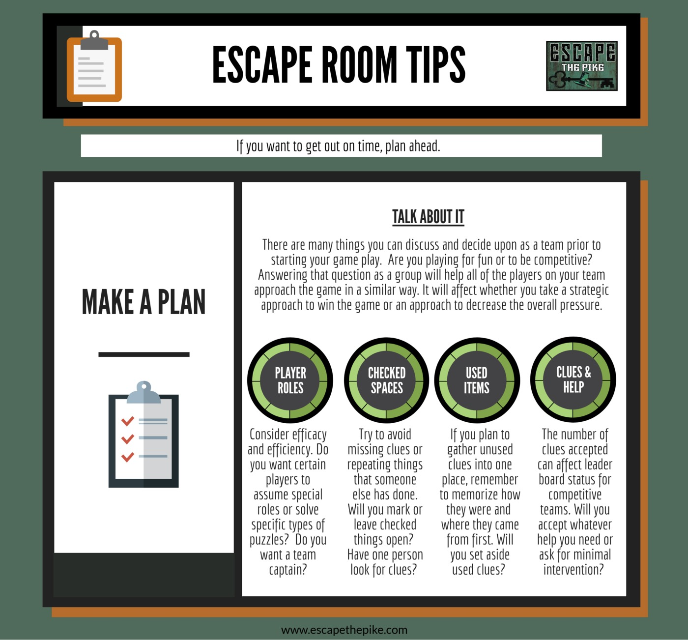 Tip #6- Effective communication is necessary for successful escape room play. Why not begin before you enter the room?! Make sure that your entire team is on the same page. Are you playing for fun or to be competitive? Talk strategy. Does your team want to execute certain techniques to try and increase your performance? Which ones? What has your success been with things in the past? Express your thoughts. Are there certain things you are uncomfortable with? Roles you would like to assume? Skills you would like to try to master?