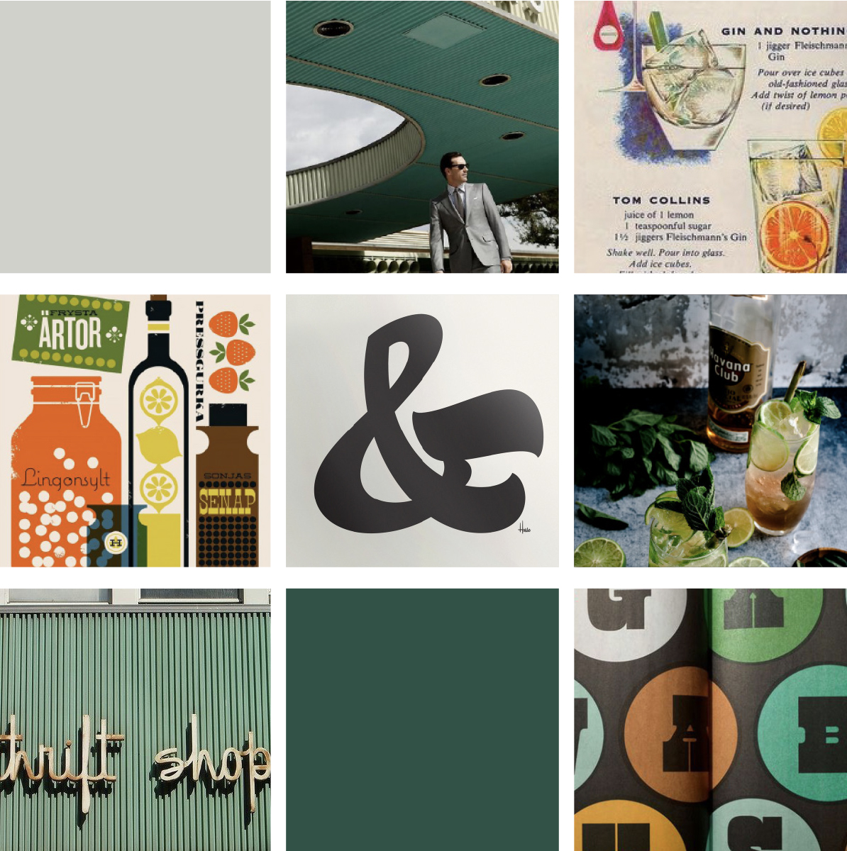 Option 2 -  Using inspiration heavily from House Industries, this mood board was based off a more quirky take of mid-century design. Decade specific script, color block graphics, illustrations of drinks + of course DD helped this mood board evoke a calming but interesting point of view. The teal + orange are wonderful colors to play with, since we can envision a lot of vodka recipes including those colors.