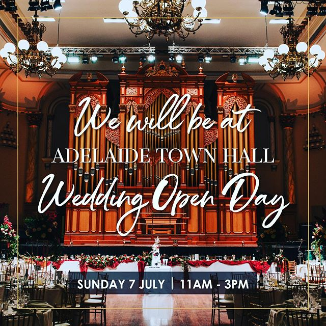 Join Alice Mary Events at the Adelaide Town Hall Wedding Open Day on Sunday 7th July between 11am and 3pm. See you there!