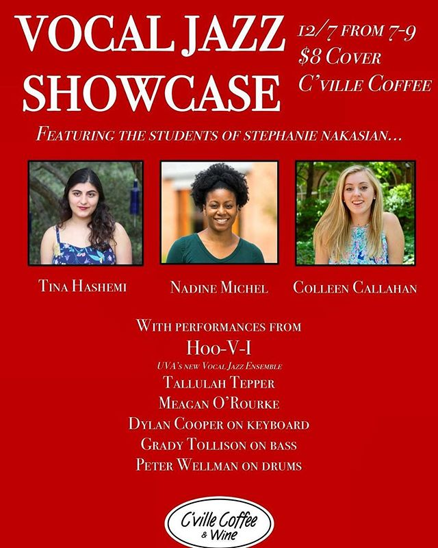 Super excited about this event that I've been working on with Stephanie Nakasian and @cvillecoffeeandwine that's happening THIS FRIDAY! Be sure to come out and support your local jazz singers 🤗