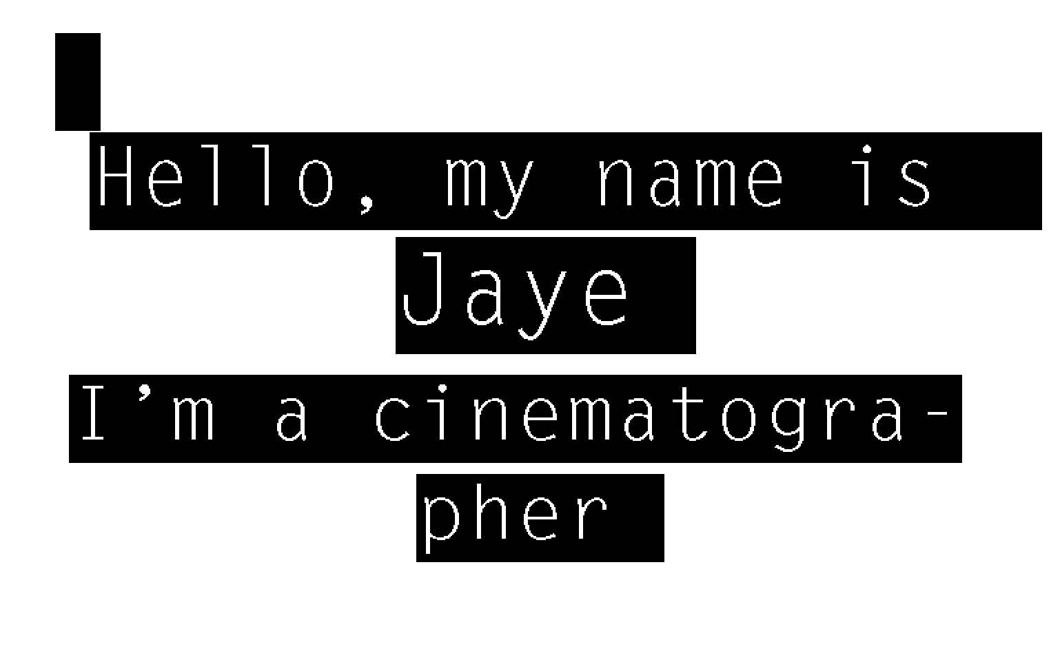 Jaye Neo [梁棋捷] has lensed projects covering a wide range of genres, in film & digital formats. He is a member of the Singapore Society of Cinematographers.