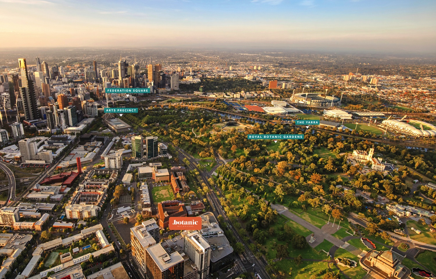 GARDEN LIVING,CITY LIFE - Just south of the city's heart, surrounded by nature and culture.Feel the excitement of the city, the thrill of the Arts Precinct and the calm of the Royal Botanic Gardens