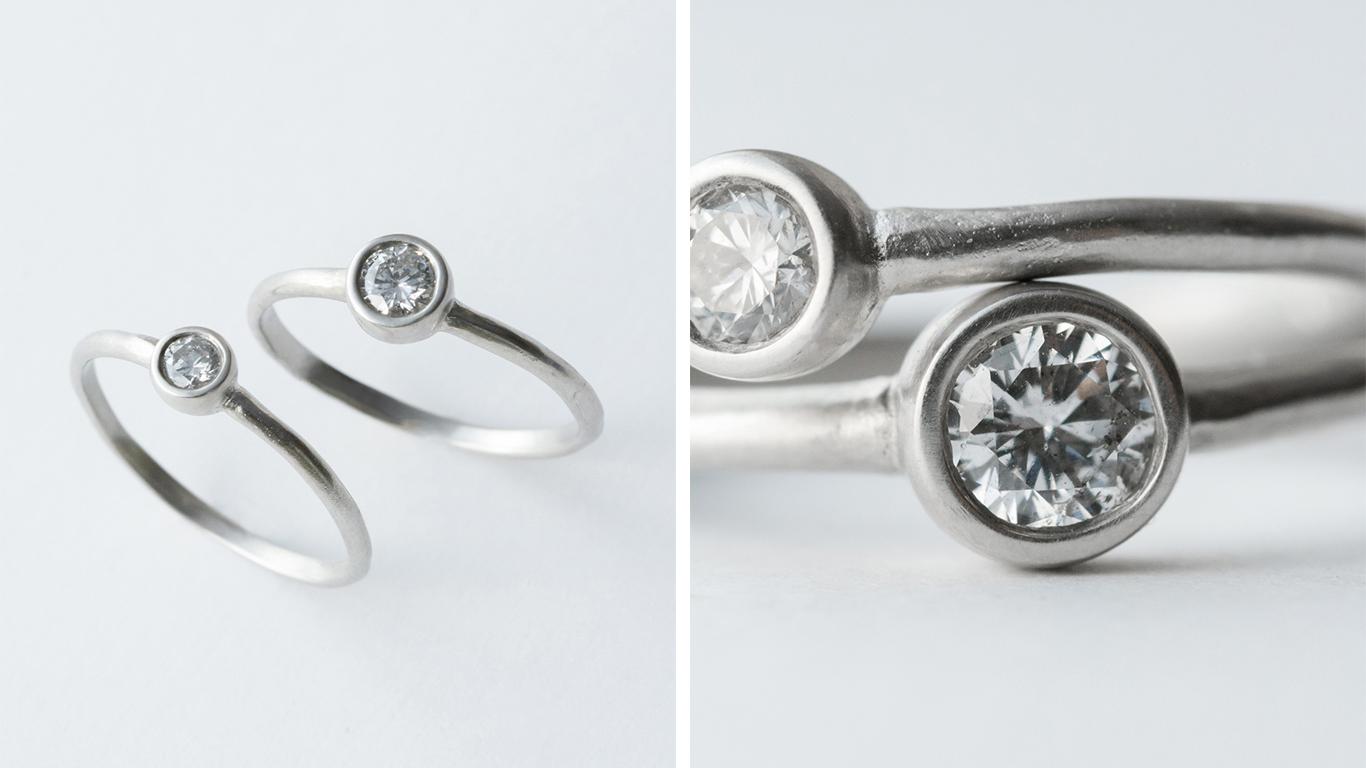 萌し/SIGN  草木が芽ぐみ、春の花とともに心も開いていく。一石のダイヤモンドが潔く清楚な佇まいのリングです。  0.1ct  K18YG ¥120,000 K18WG,K18PG ¥135,000 PT900 ¥150,000  0.2ct  K18YG ¥160,000 K18WG,K18PG ¥180,000 PT900 ¥200,000