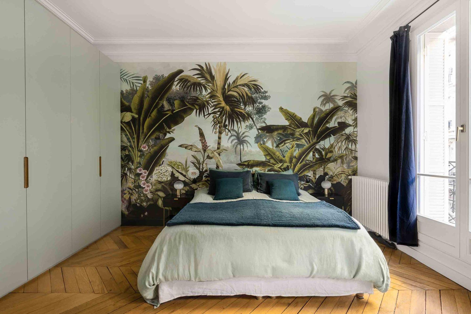 papier peint panoramique dans chambre parentale