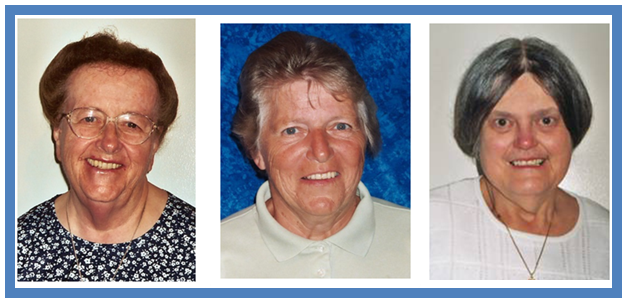 FEBRUARY 2018  Pictured above (L-R) Sr.   Florence Veronica Byrne, DW (Sr. Veronica of the Cross)  ,   Sr. Patricia Curreri, DW (Sr. Fidelis Mary of the Immaculate)   and  Sr.    Joan Zielinski, DW (Sr. Edward Marie of the Immaculate)   all reach milestone Jubilees this month. Sr. Veronica celebrates 70 years, and Sr. Pat and Sr. Joan celebrate 60 years of profession.