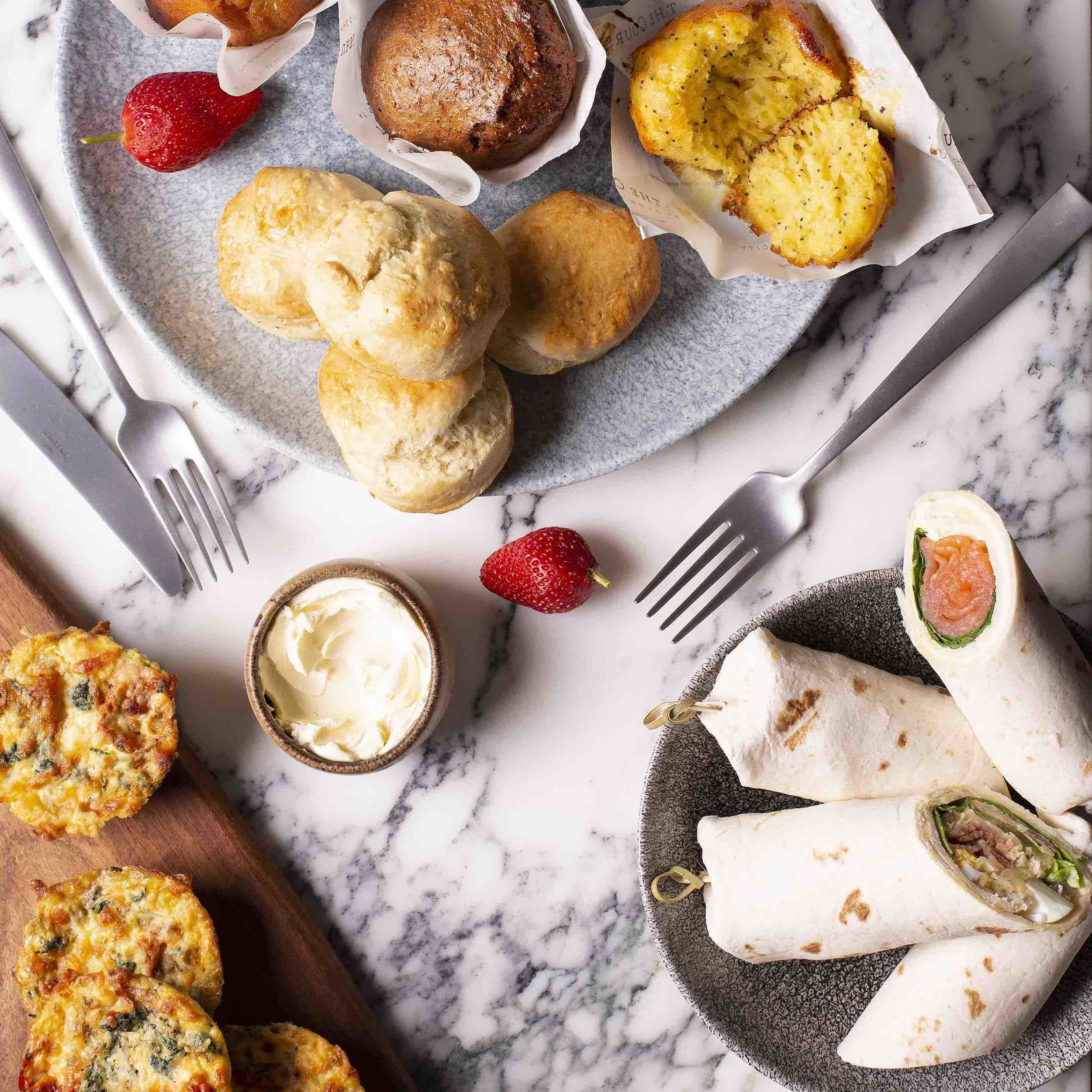 Breakfast platterR 600– - Spinach, mushroom and roasted rosa tomato frittata, breakfast wraps with boiled eggs, salmon and cream cheese wraps, assorted muffins, home-made scones
