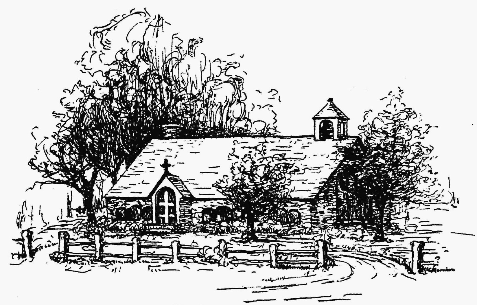a SKETCH OF THE ORIGINAL CHURCH BUILDING -