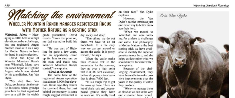 Featured in the Wyoming Livestock Roundup -