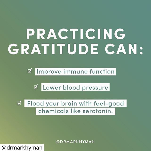 "HAPPY SUNDAY! 🤗  It's clear there are multiple benefits to be had from incorporating a regular gratitude practice into your wellness routine. ⠀ ⠀ An article published by UC Davis stated, ""Gratitude is associated with higher levels of good cholesterol (HDL), lower levels of bad cholesterol (LDL), and lower systolic and diastolic blood pressure, both at rest and in the face of stress.""⠀ ⠀ Gratitude is also linked to better sleep, with both better sleep quality and duration being linked to a grateful attitude. ⠀ ⠀ This same outlook has been linked to higher levels of self-esteem and it can also help us make new friends: Thanking an acquaintance encourages them to pursue an ongoing relationship with you, as it sends a signal that there is potential for a high-quality relationship to be formed.  #gratitude #immunefunction #bettersleep #sleep #drmarkhyman #relationships"