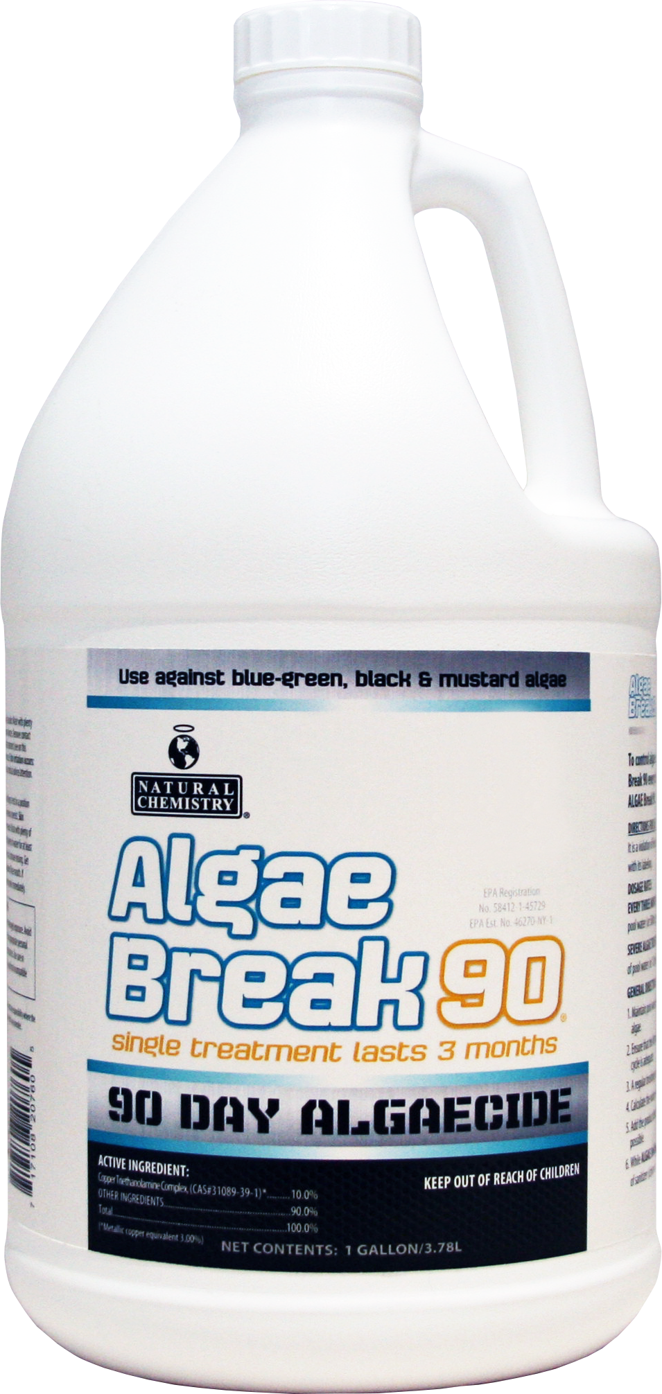Algae Break 90   Controlling algae has never been easier! Natural Chemistry's ALGAE Break 90® is a non-staining formula that can be used against blue-green, black and mustard algae. Simply add ALGAE Break 90®every three months. Your pool will sparkle like never before.
