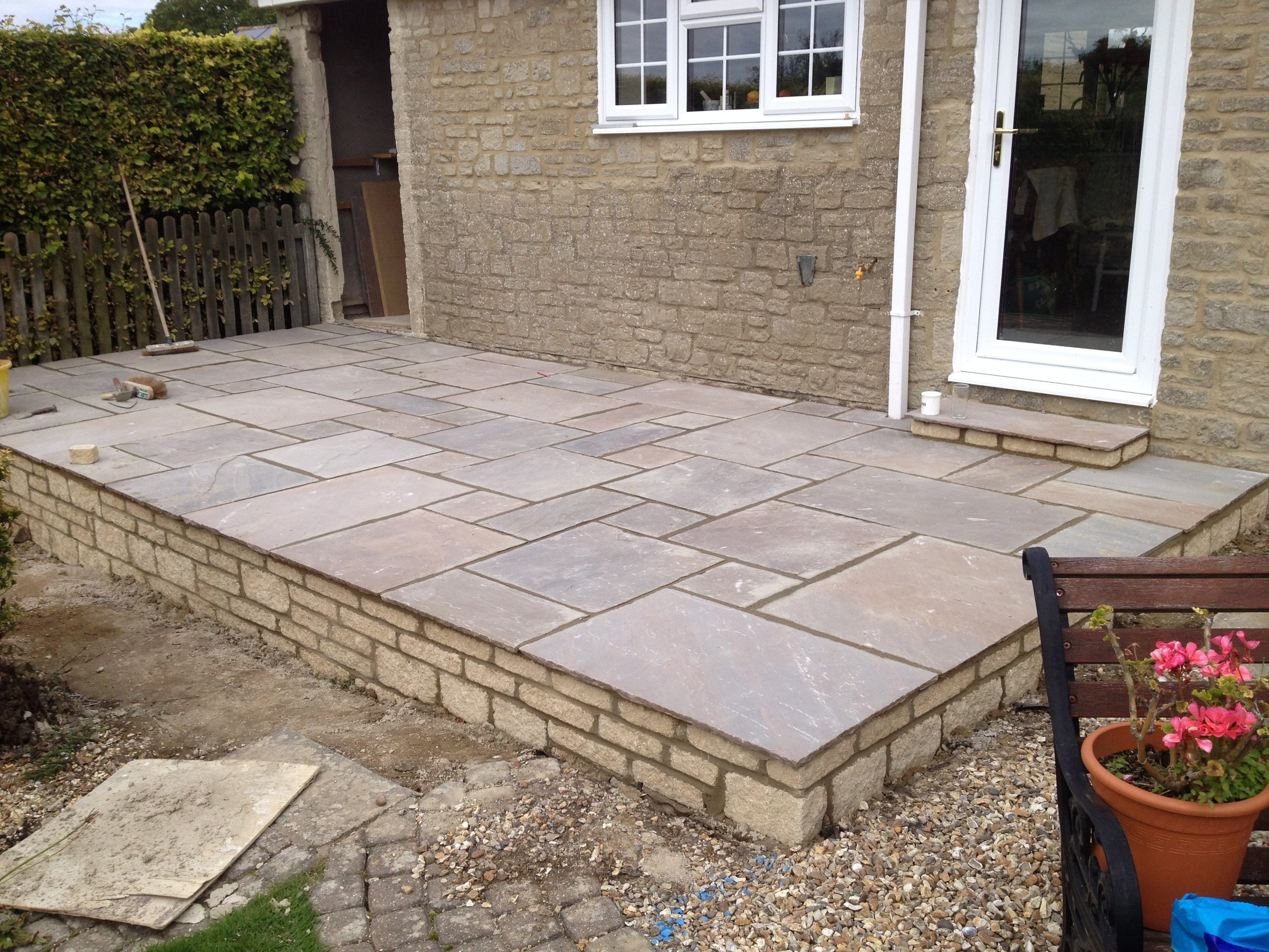 Stone patio.
