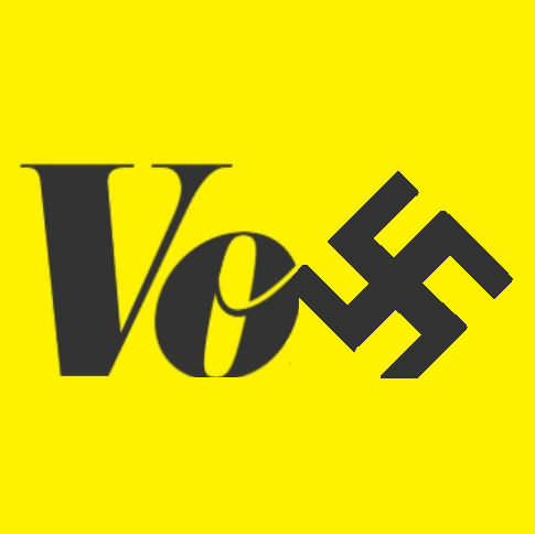 """BREAKING: Vox.com intros new logo. """"It better reflects our new corporate reich."""" """"We dig it the most."""" - YouTube"""