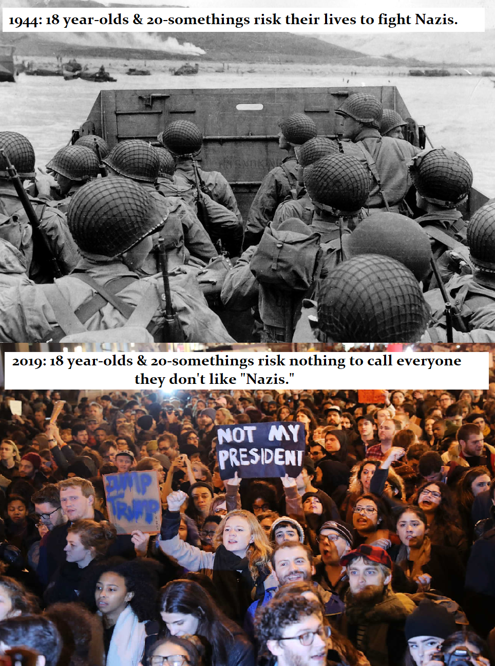 """""""You're welcome."""" - the people in the top picture. """"F*ck you, old guys!"""" - the people in the bottom picture."""