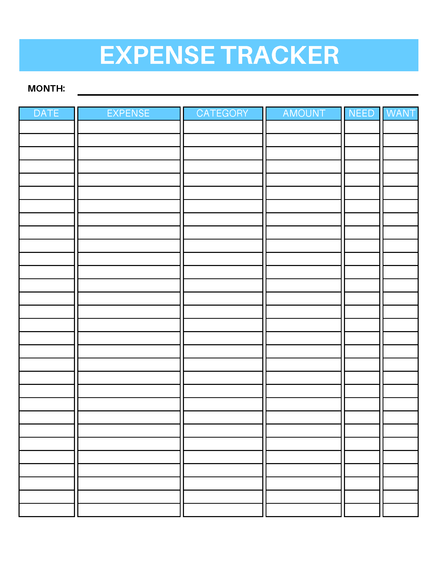 This is an image of Inventive Free Printable Expense Tracker