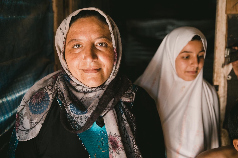 Mother and daughter. Sad Nail camp, Bekaa Valley.