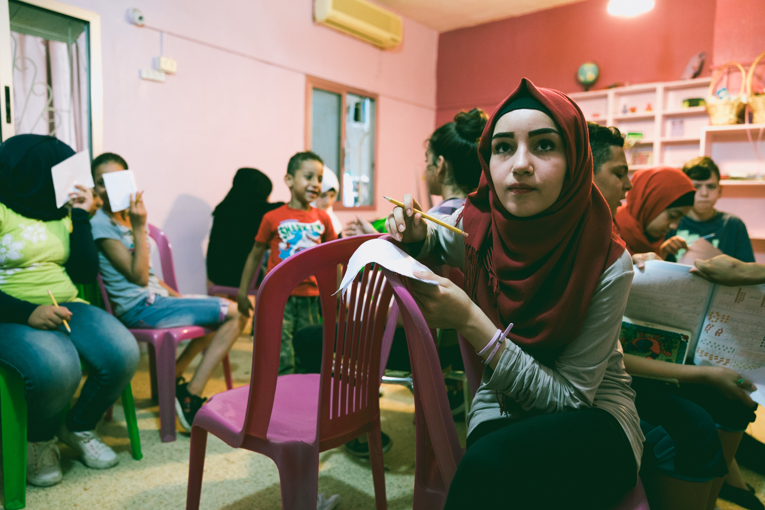 Students in a local school inside the Shatila refugee camp.