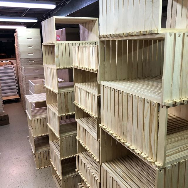 Woodenware season is in full swing. I think we're going to need a bigger storage space. 😂 .  Our hive components are all hand-assembled and ready for pick-up. If you need to add or replace for the season, check our site for more details. Link in bio.  #localhoney #chicagoland #honeybees #woodenware #hivecomponents #beehives #honeytrails