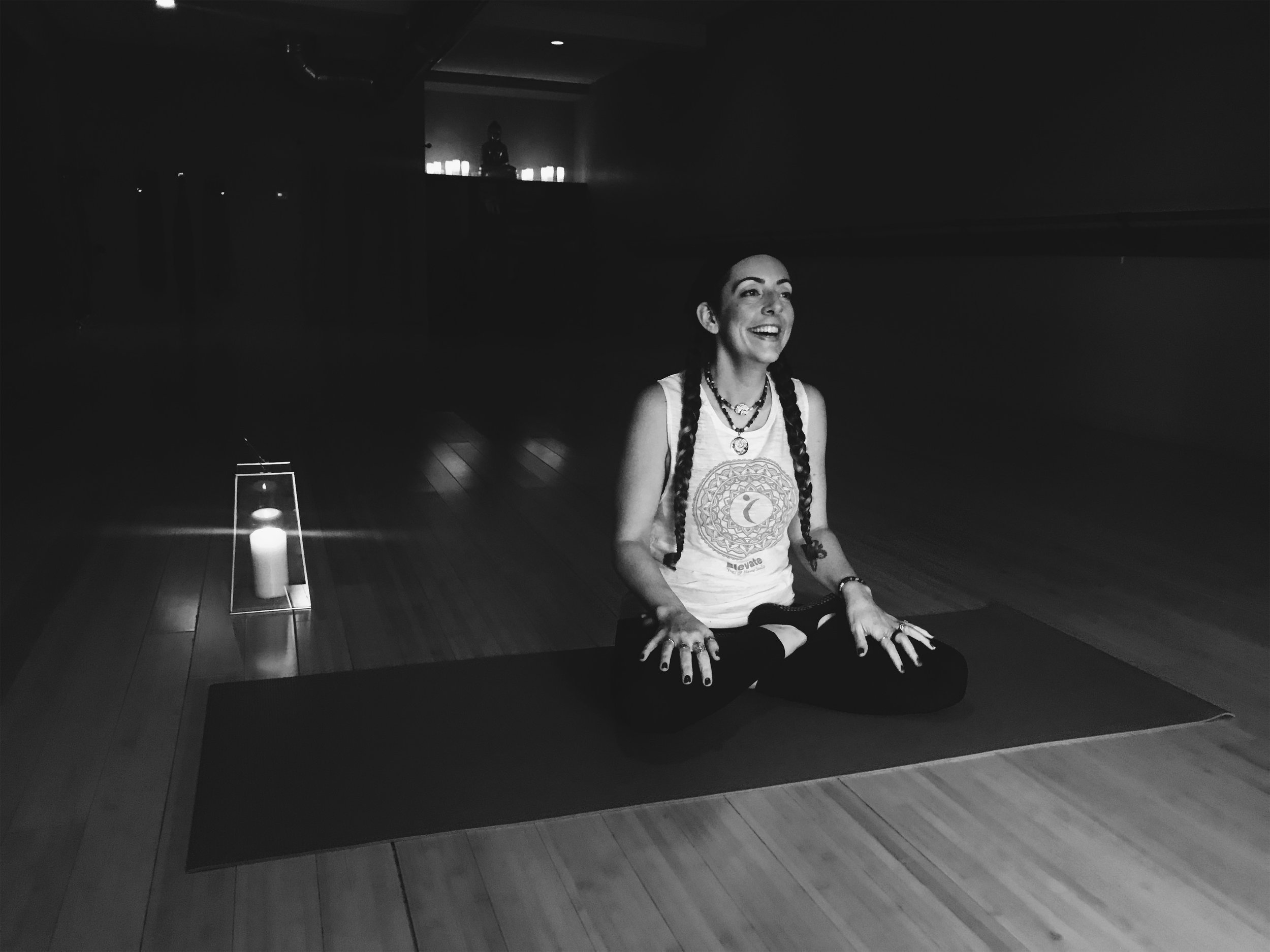 """Gina Vicente - For Gina Vicente, yoga has given her such a freedom in every aspect of her life and she is joyed to have the opportunity to share it with others.Melting the mind, body, and spirit both on and off the mat, with focus on Pranayama (breath energy) and alignment to better allow students a chance to learn about and challenge themselves in a compassionate, fun and safe environment.Gina has her 200 HYTT Certificate and has completed the Yoga Wall Training here at Elevate. She enjoys incorporating joyful, energetic flows, stretching, balancing, and restorative asanas into everchanging classes. Taking inspiration from aspects of B.K.S. Iyengar's teaching, nature and others, she encourages everyone on their path of self-awareness.""""Yoga is the journey of the self, through the self, to the self."""" – The Bhagavad Gita"""