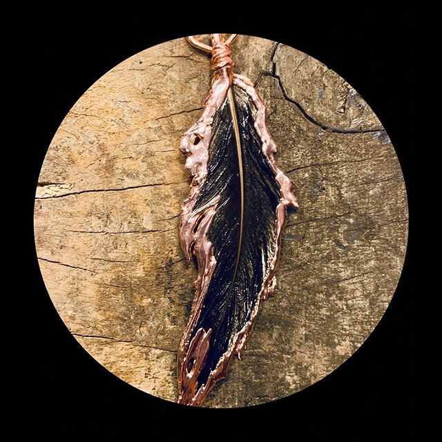 I don't think I could love a piece more than I love this first feather pendant I just plated. I'll have her and some others with me at #kickinitonthecreek but I won't officially be set up. Just find the tattooed lady (that's me!) I'll have a case of jewelry with me.  #kiotc2019 #kickinit #kickinitonthecreek2019 #jeweler #imakestuff #tattooedlady #kentucky