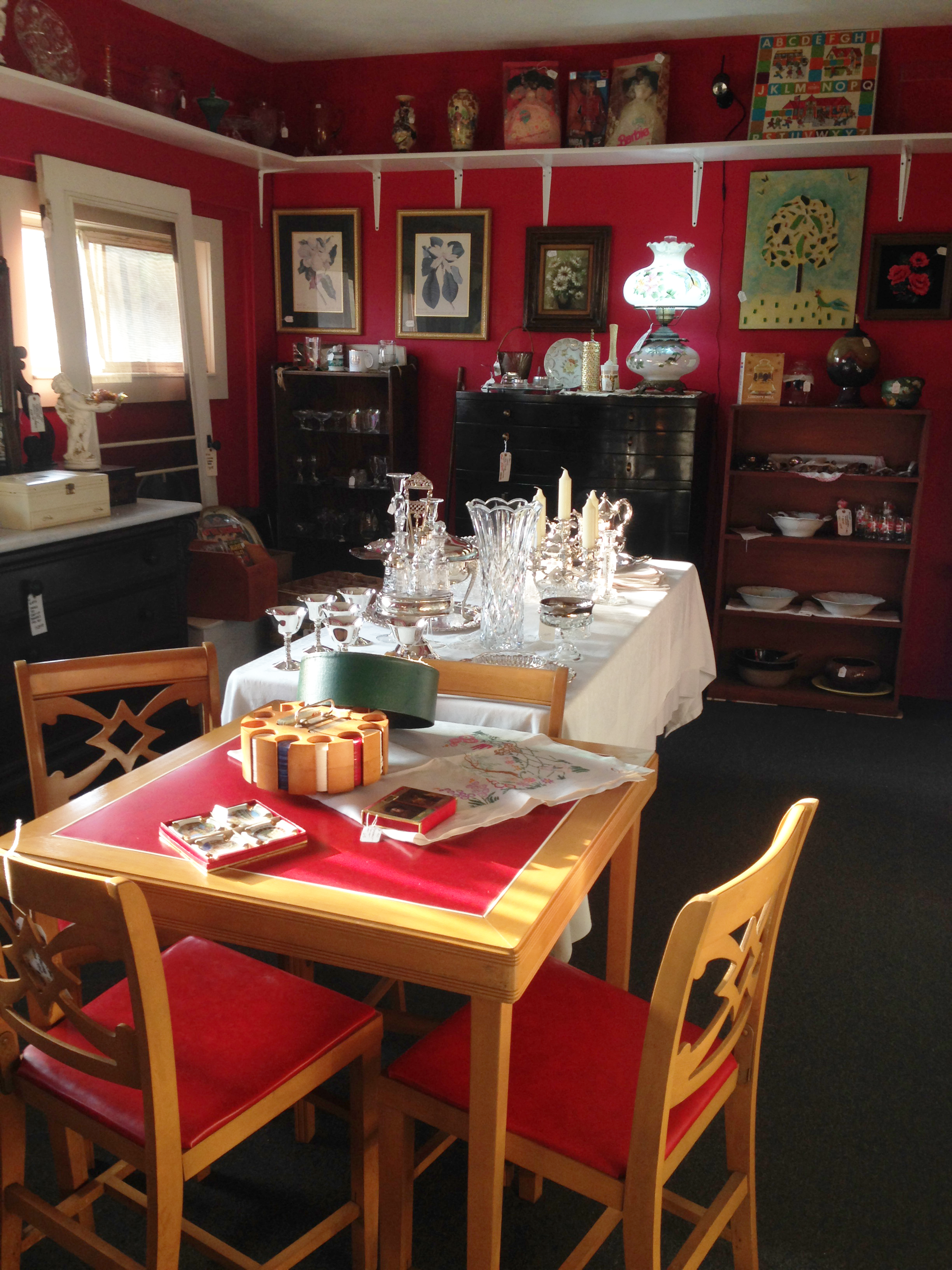 Red room full of antiques