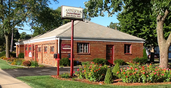 Look for HH Antiques in this mid-century brick building. Onsite parking is available beside the building.