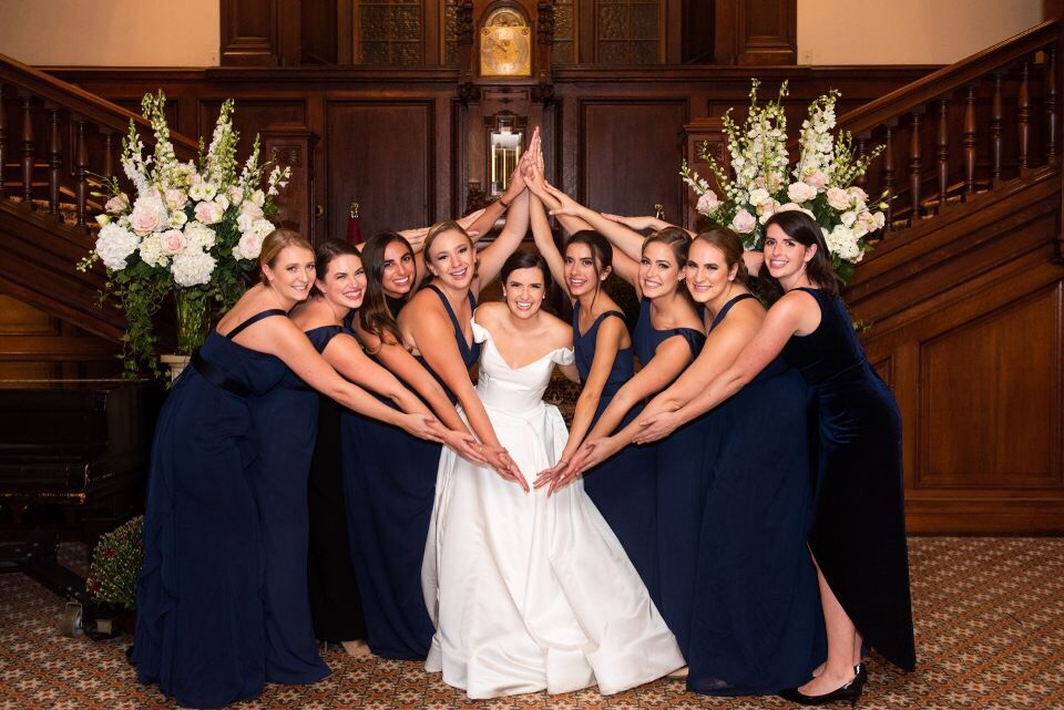friendships that last a lifetime - Barbara, Theta alumna and sister to current member (Sofia), on her wedding day with her Theta bridesmaids!