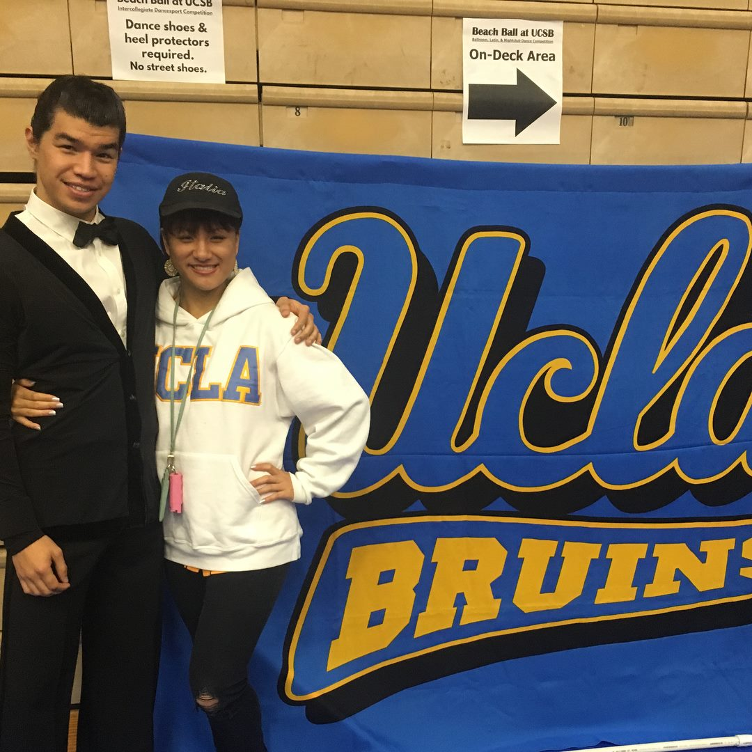At the UC Santa Barbara Beach Ball collegiate ballroom dance competition, during my sophomore year of college!