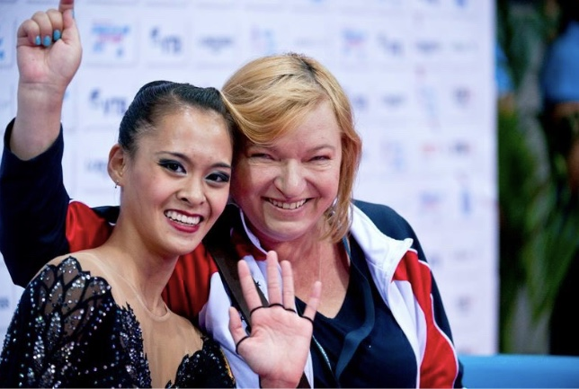 With Coach Nataliya Kiriyenko at 2015 World Championships (Stuttgart, Germany)