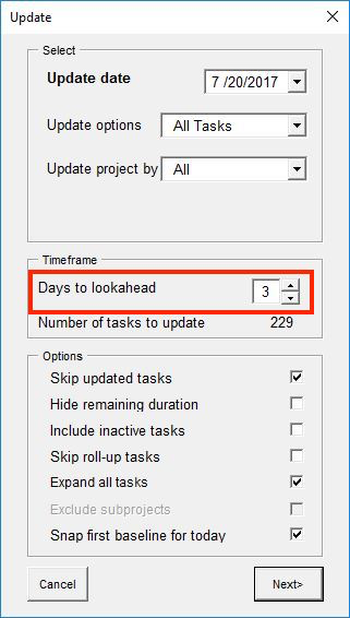 Days to lookahead in Update options