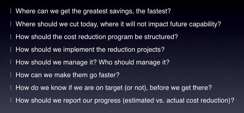 Typical cost reduction questions
