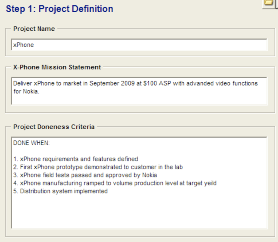 Image from fastProject, starting point for defining the scope of a project during planning