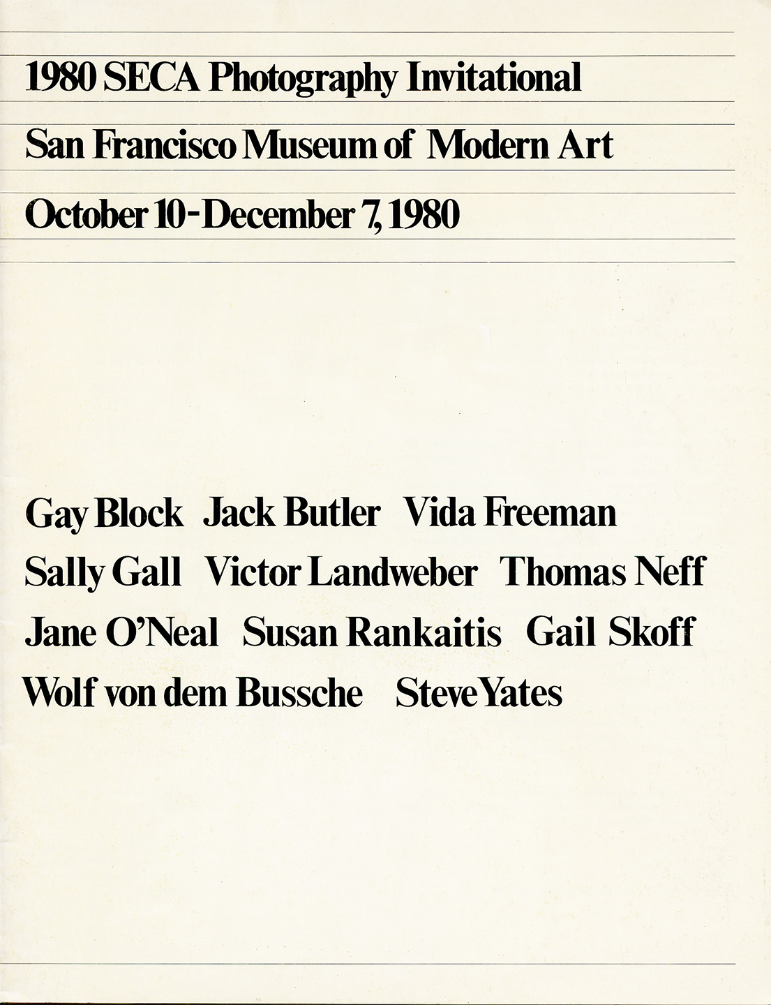 SECA Awards SanFrancisco Museum of Modern Art 1980