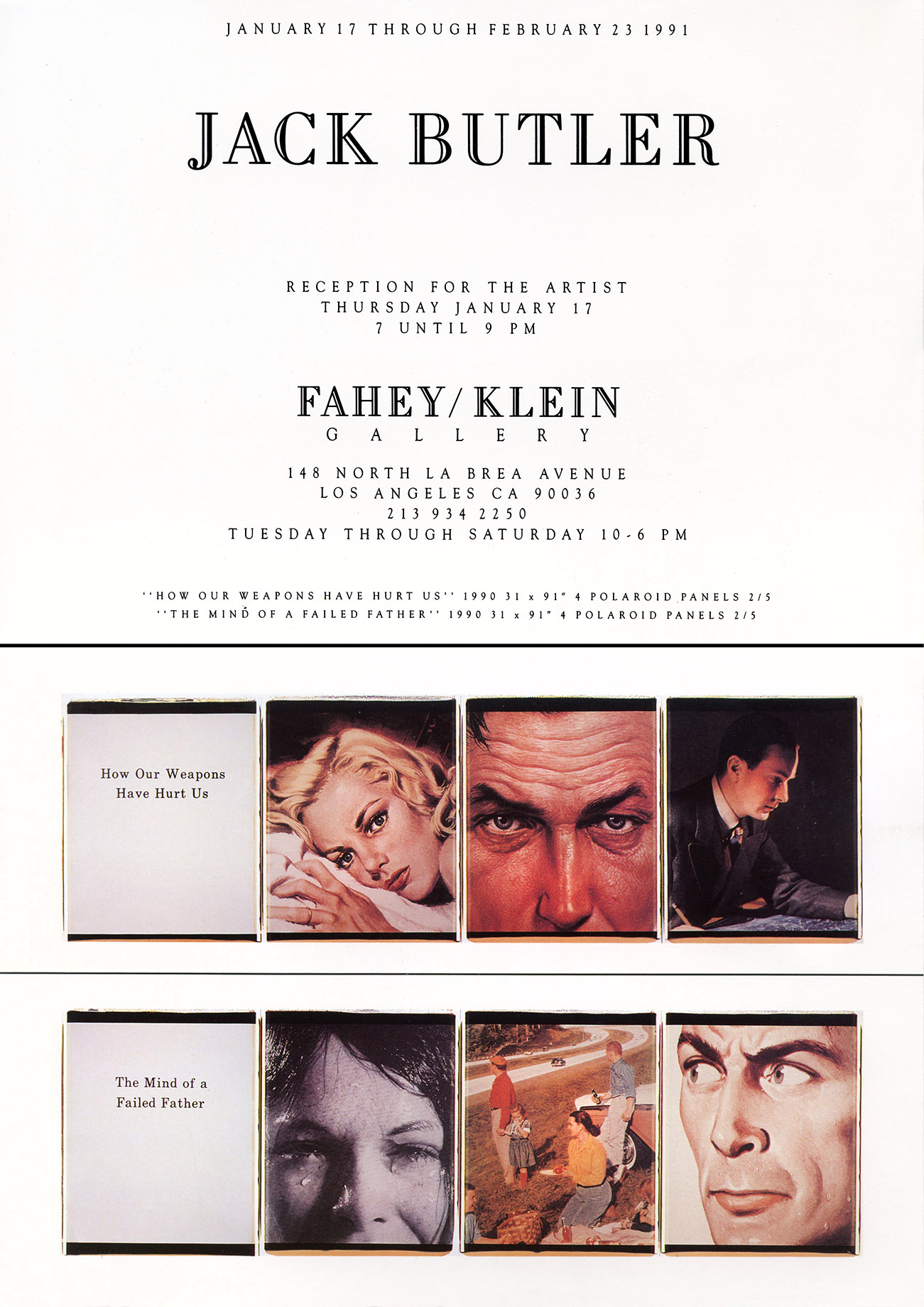 Announcement, Fahey Klein Gallery 1991