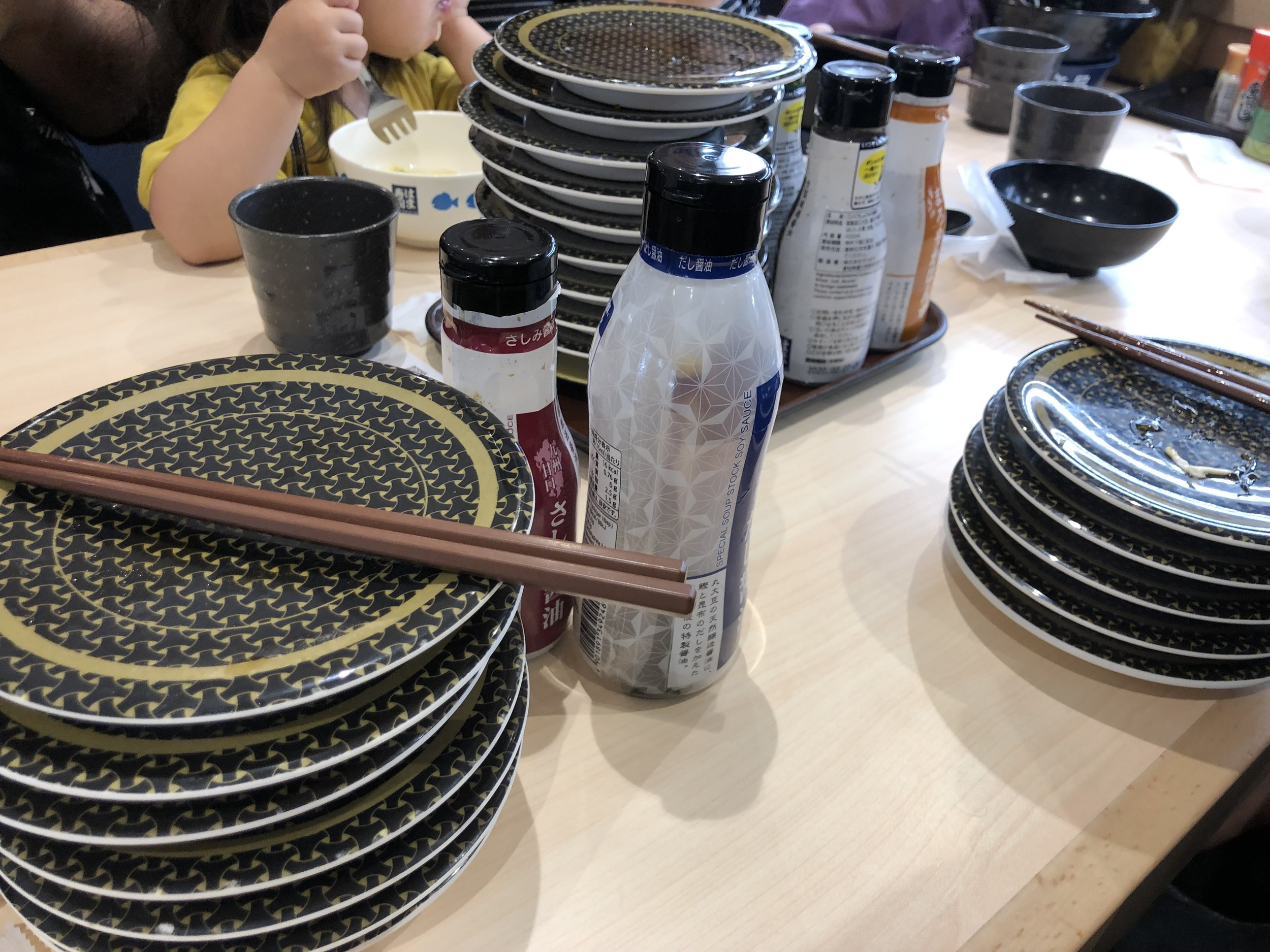 After we left the shop, it was time for some much needed food. What better way to start off the trip than with some conveyor belt sushi! They recently changed how it's done, and sushi doesn't just carousel around anymore, it only comes around when you order.  What's crazy about Japan is everything is so robotic! A little robot greeted us at the door, we told it how many people we had, and it seated us. No waitress or waiter, and everything was done through touch screen at your table. Crazy world!