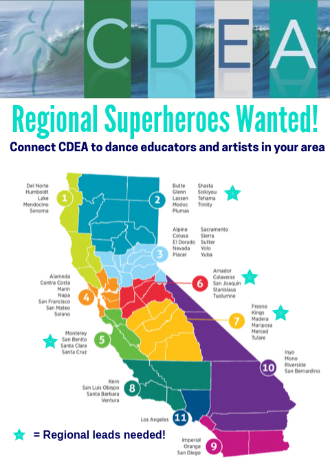 Don't see your region represented? Be a CDEA Regional Superhero! - Superheroes host one outreach experience for local educators per year such as a Whatever You Need Master Class or Breakfast.For more info about how to become a Regional Superhero, contact kim@cdeadance.org.