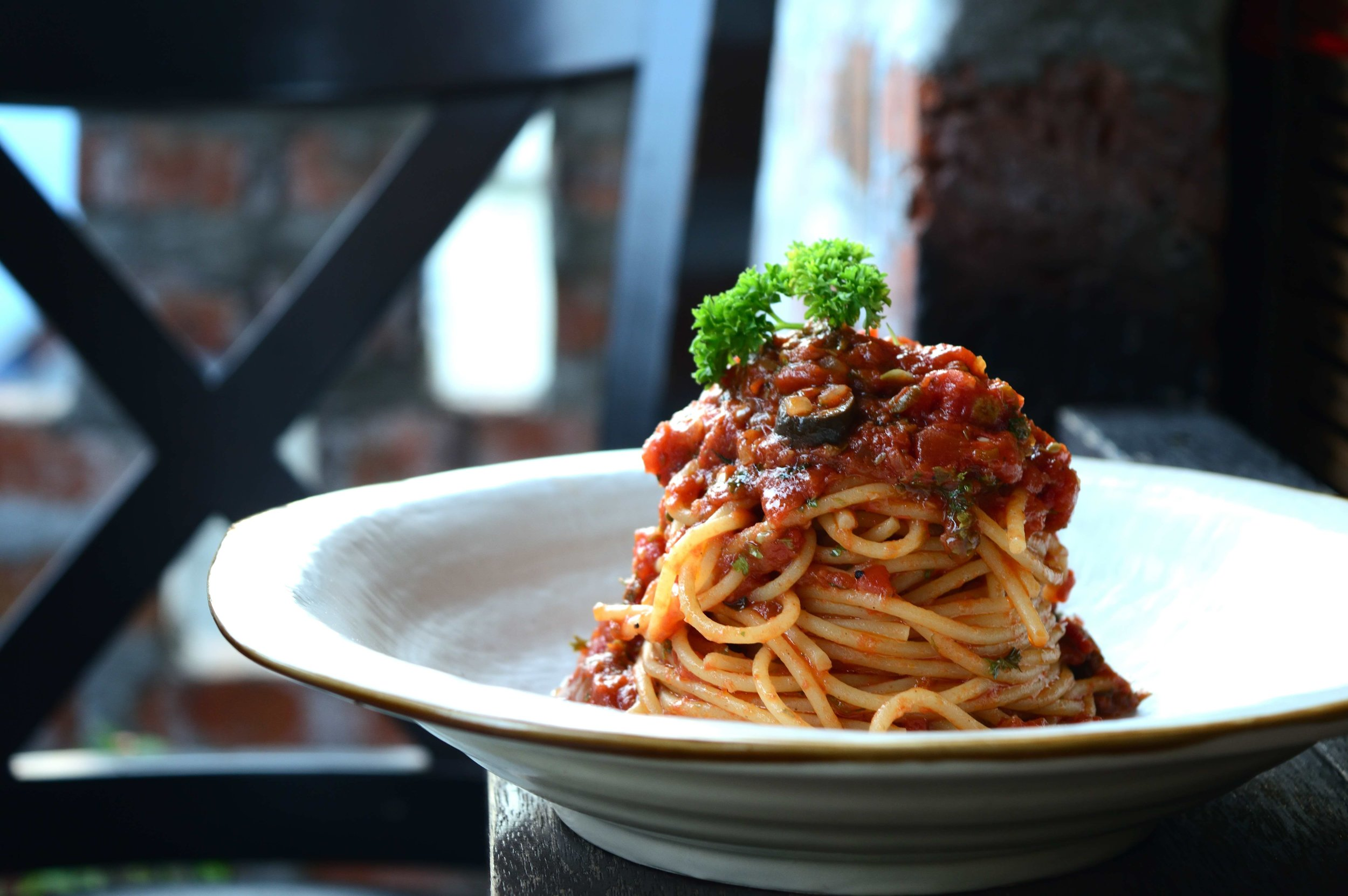 Spaghetti Puttanesca - Dining at D.O.P. @ The Attic bar