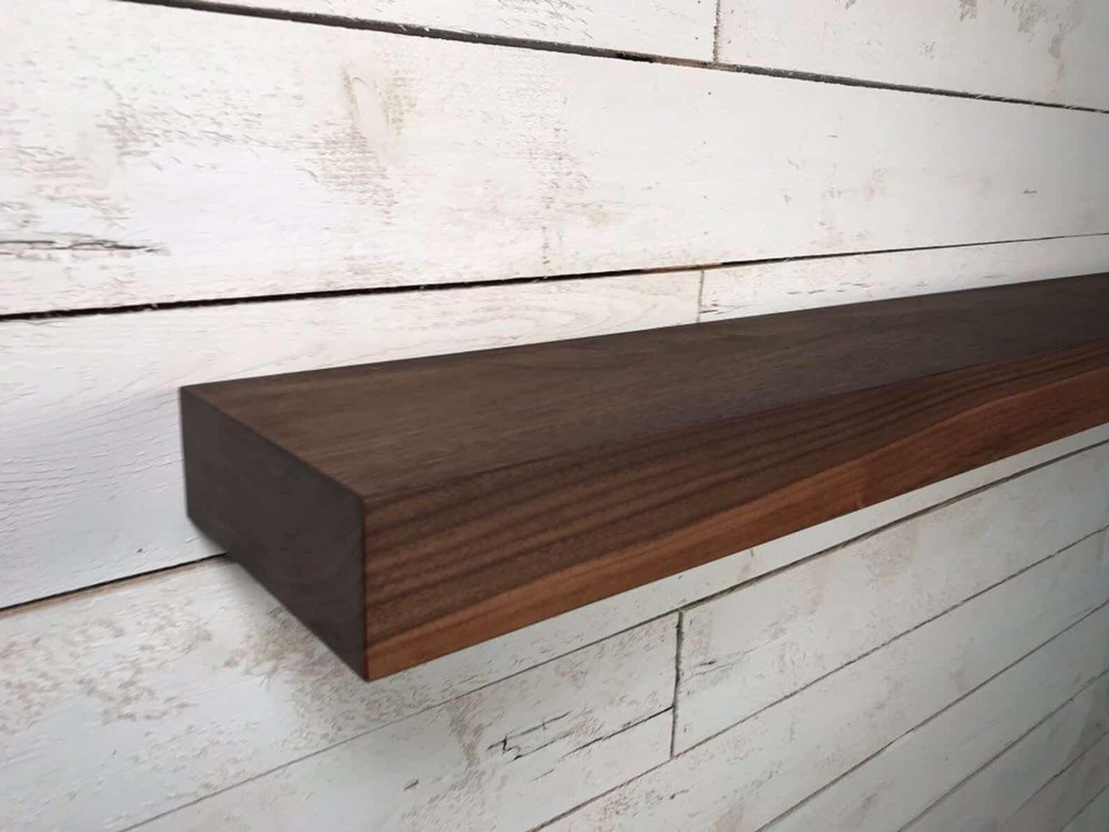 floating walnut shelf