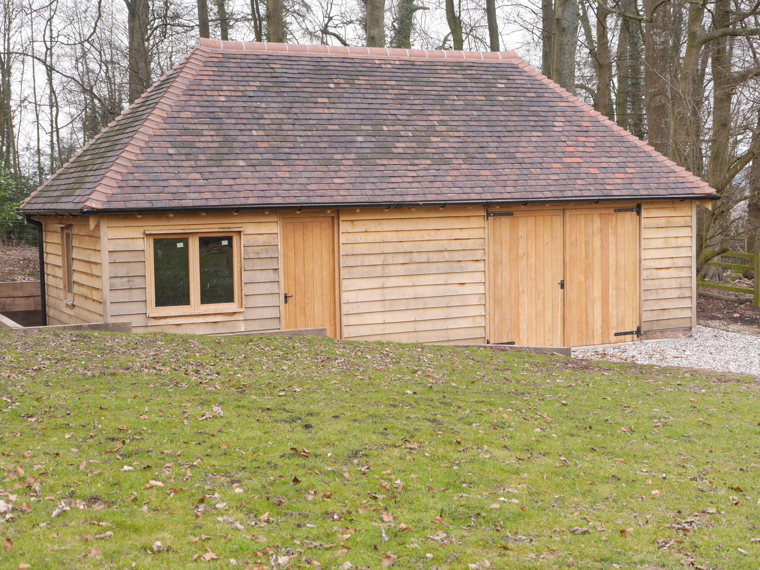 timber framed garage, oak framed garage